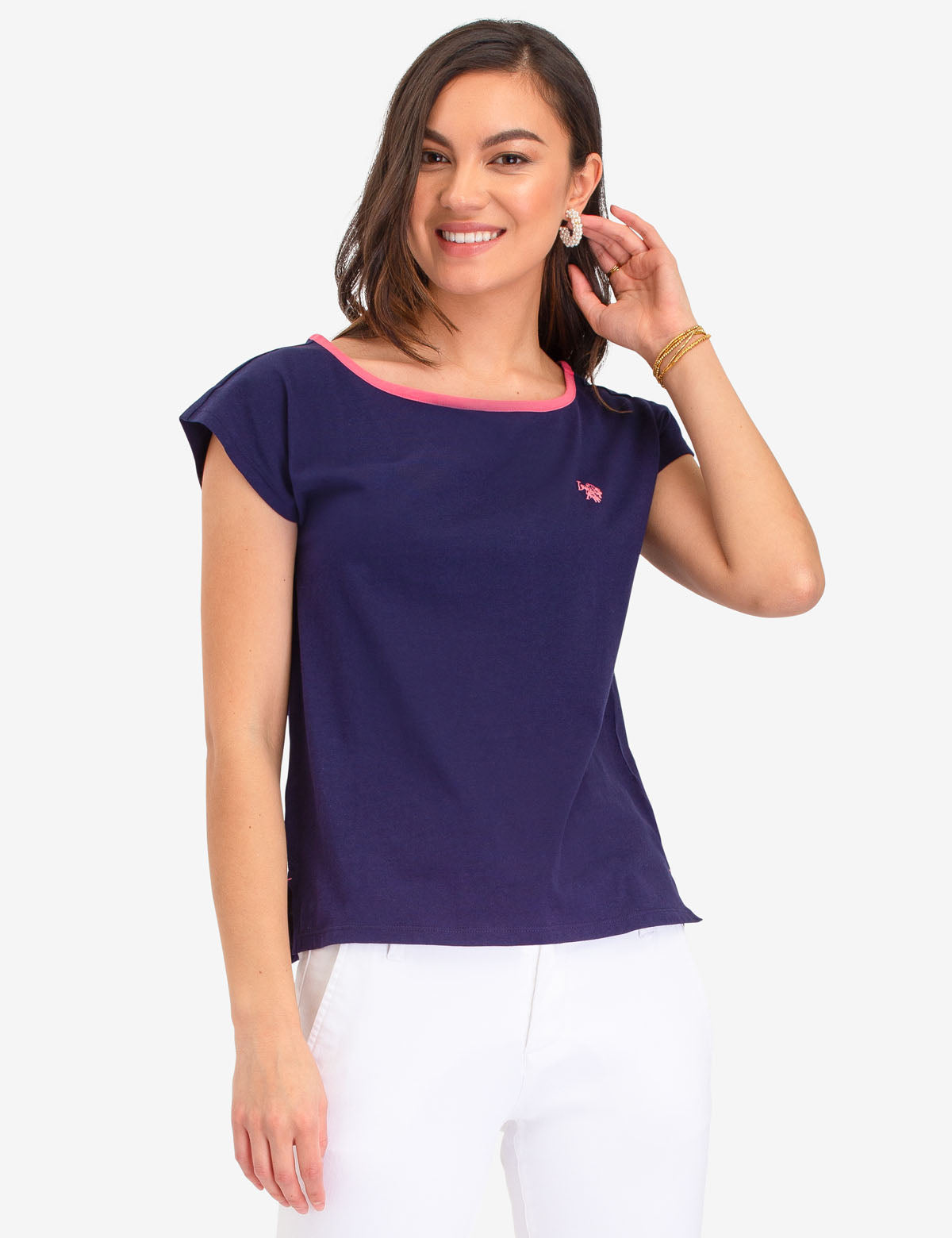 COTTON JERSEY TOP WITH PIPING