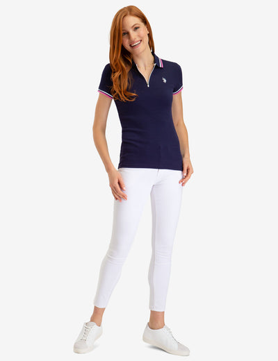 ZIP UP RIB POLO SHIRT - U.S. Polo Assn.