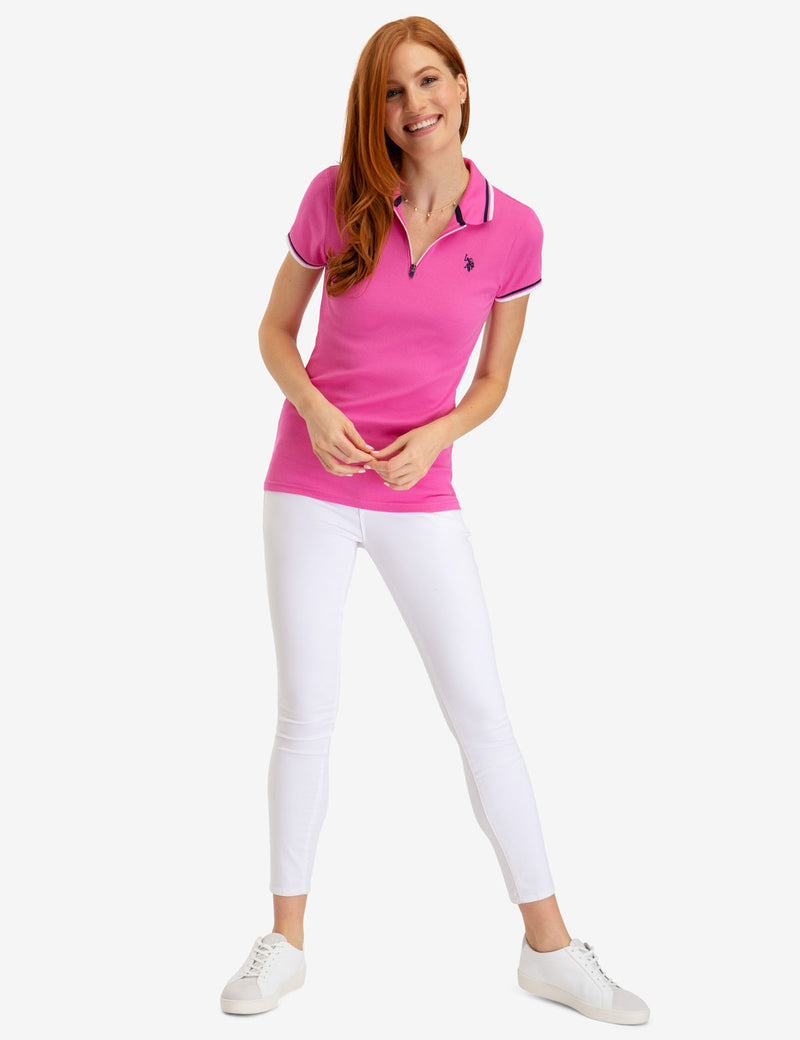 ZIP UP RIB POLO SHIRT
