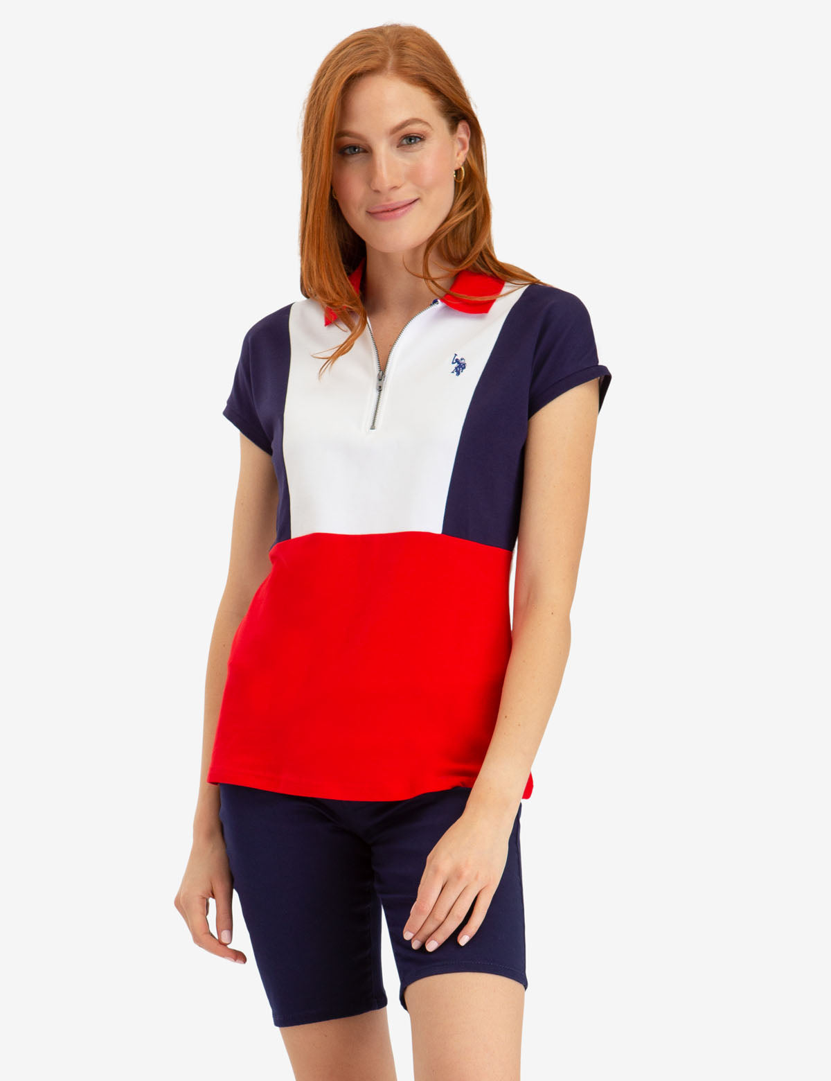 ZIP UP COLORBLOCK POLO SHIRT