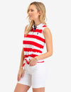 TIE FRONT STRIPED SLEEVELESS POLO SHIRT - U.S. Polo Assn.