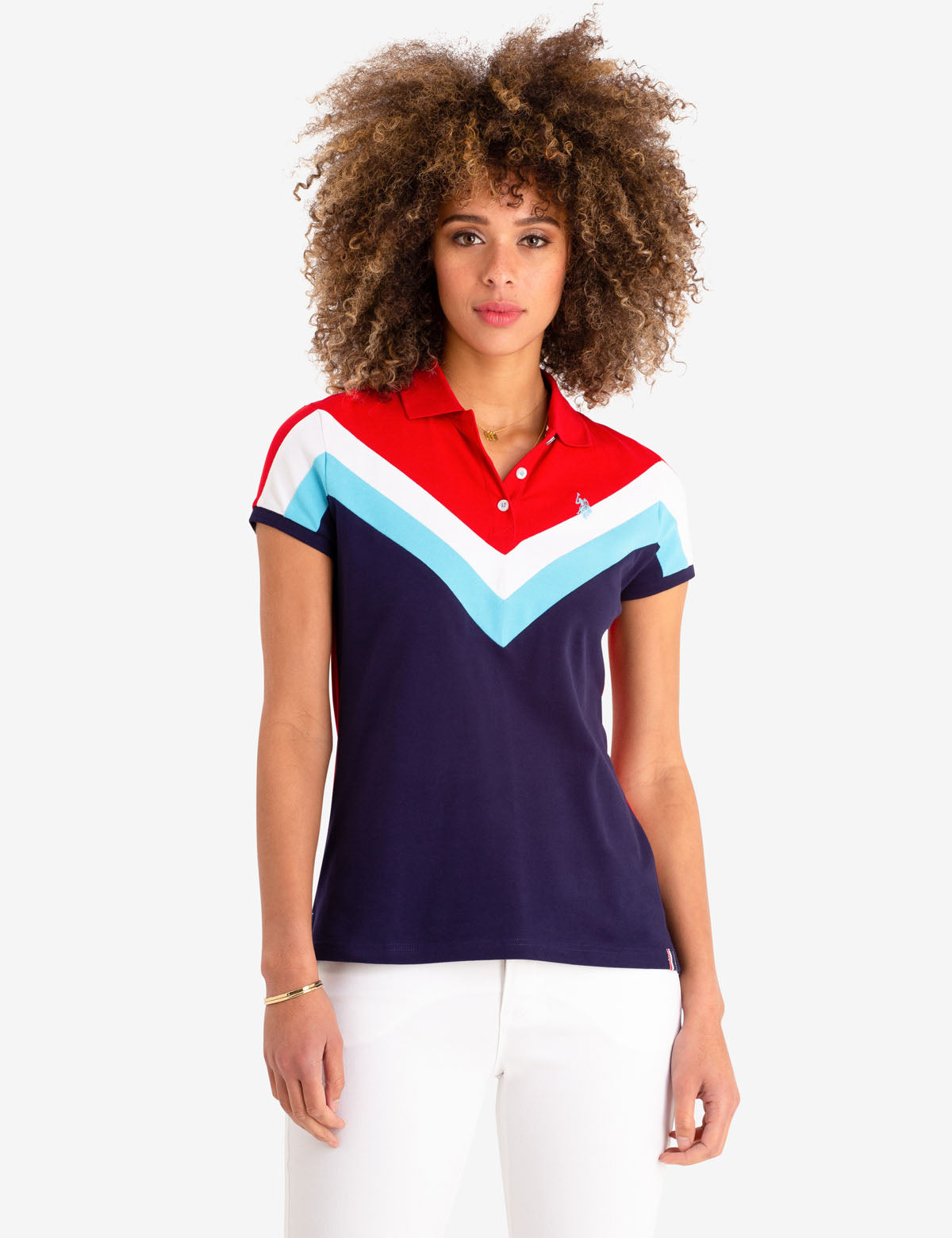 CHEVRON STRIPE POLO SHIRT