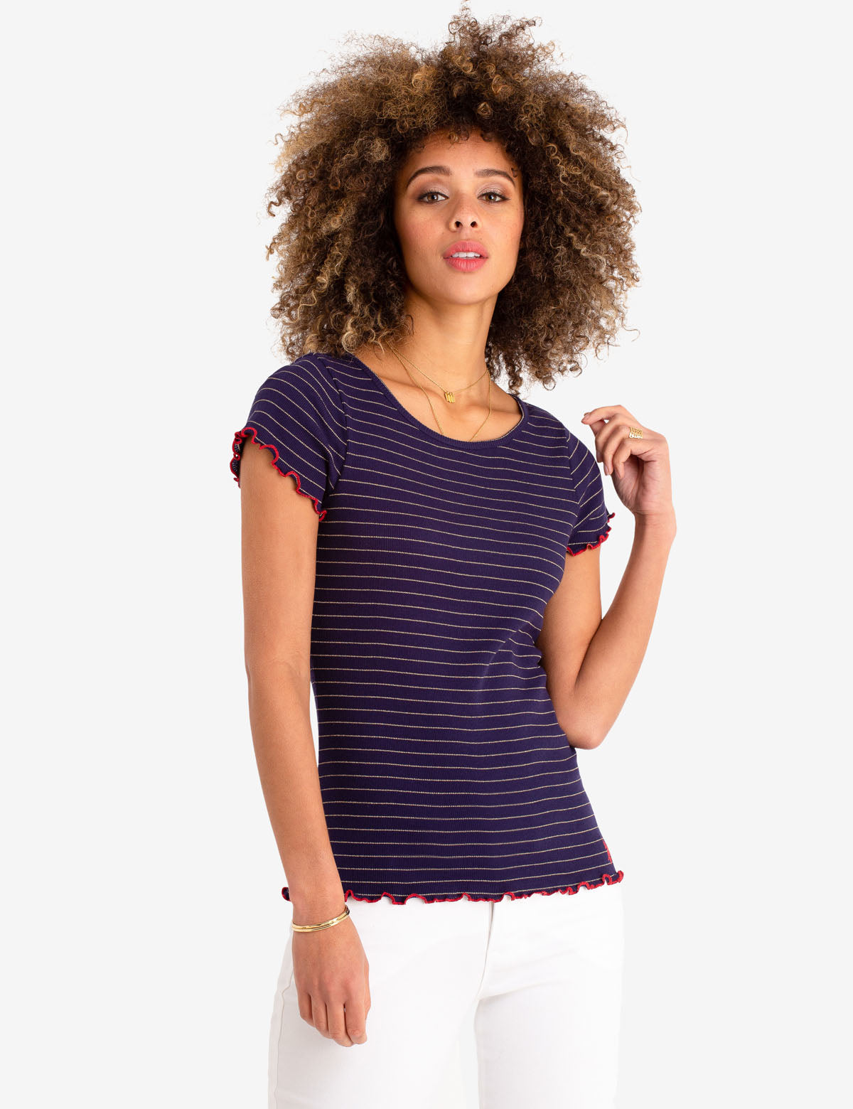 LUREX STRIPE RUFFLE SLEEVE TOP - U.S. Polo Assn.