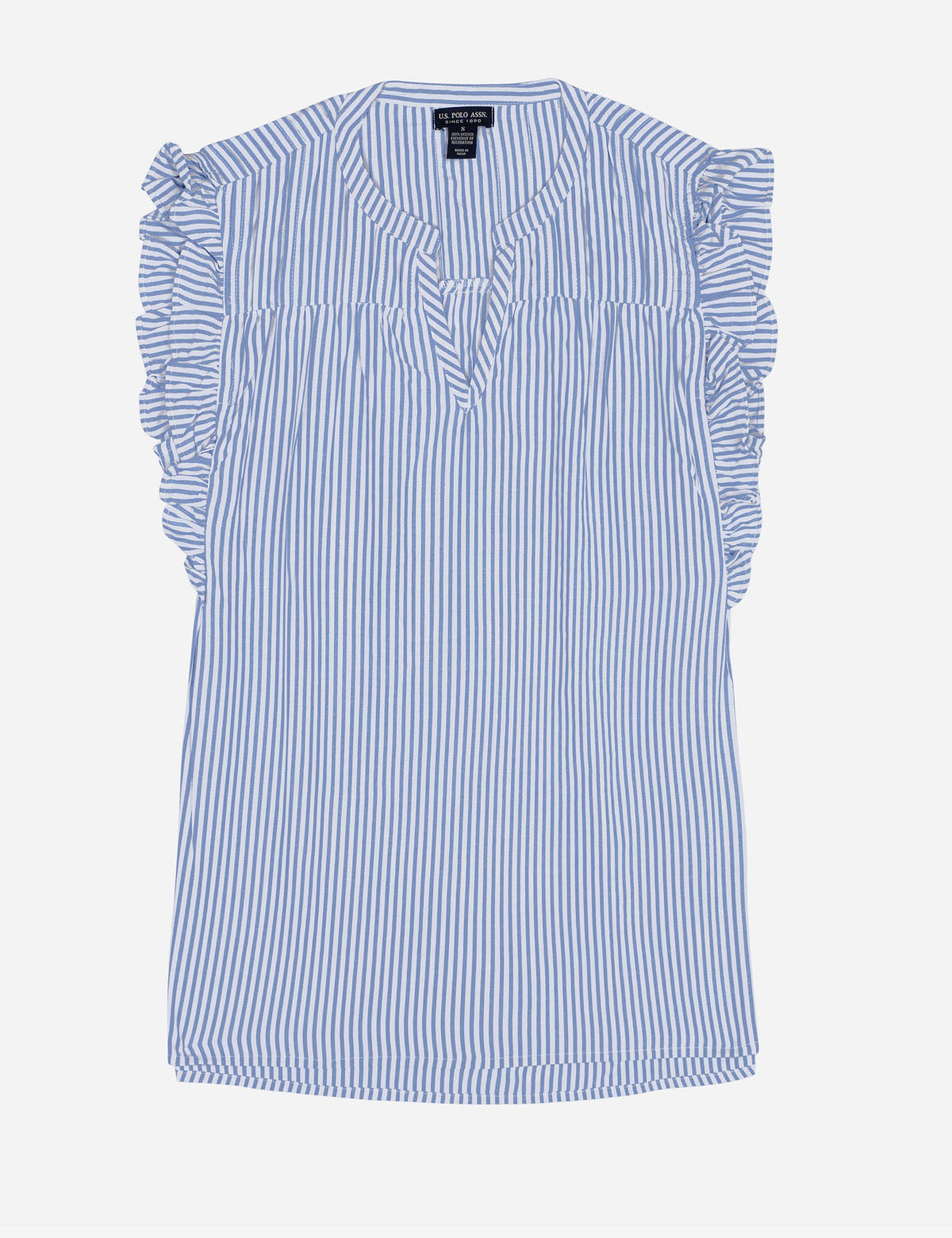LUREX STRIPED RUFFLE TOP