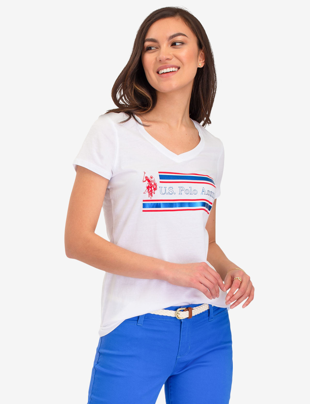 USPA FOIL STRIPED GRAPHIC TEE