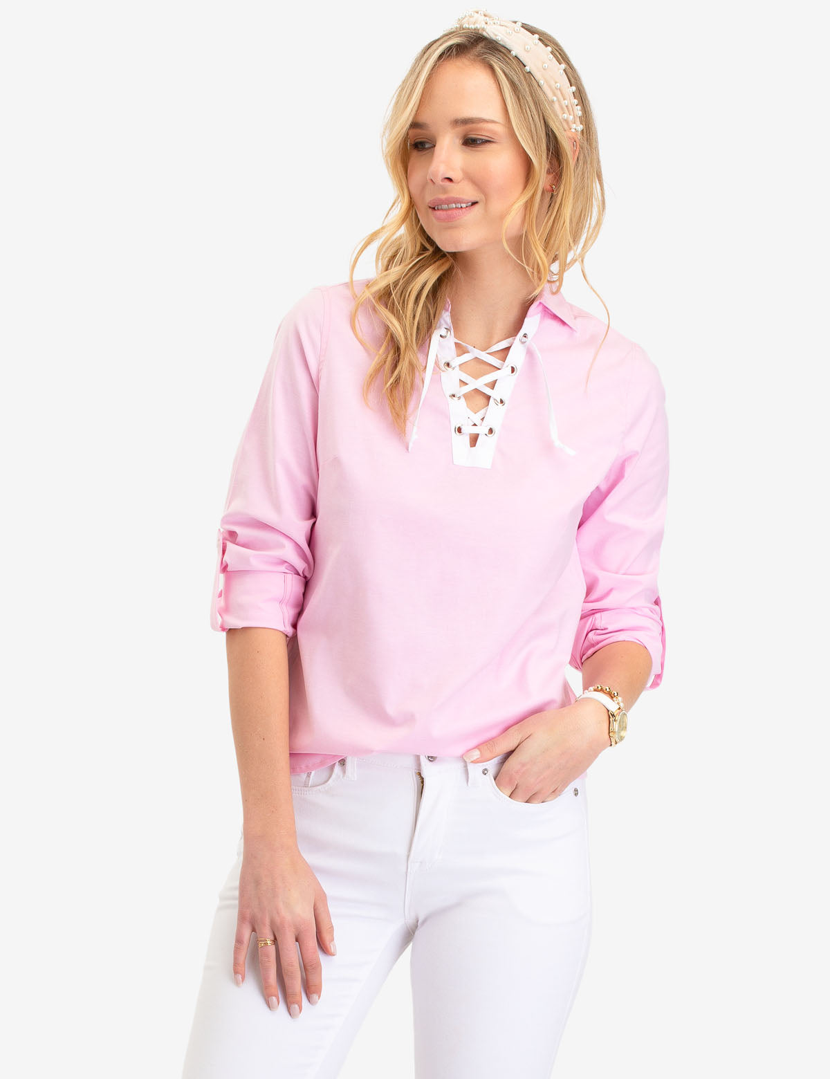 LACE UP OXFORD SHIRT