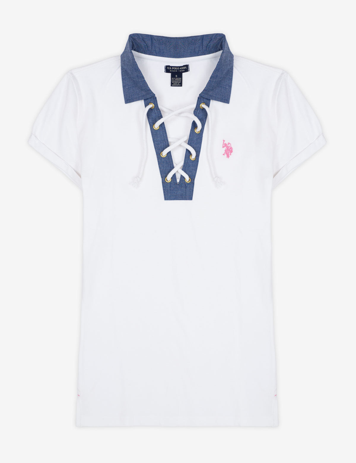 CHAMBRAY COLLAR LACE UP POLO SHIRT - U.S. Polo Assn.