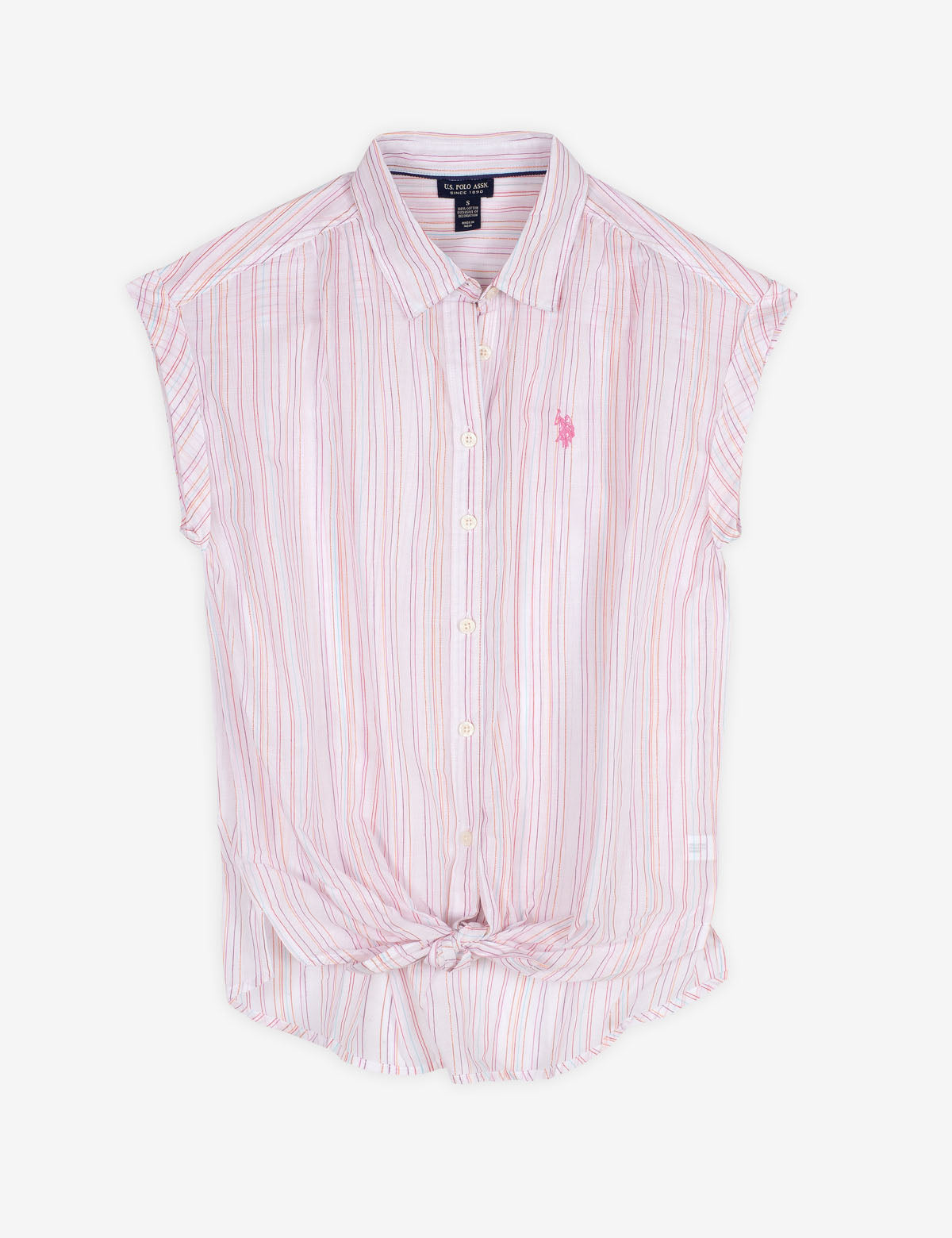 STRIPED TIE FRONT POPLIN SHIRT