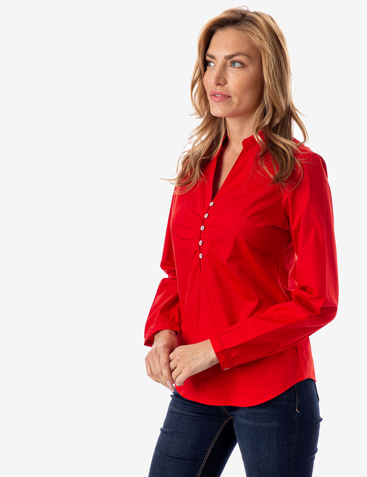 RUCHED BUTTON FRONT SHIRT - U.S. Polo Assn.