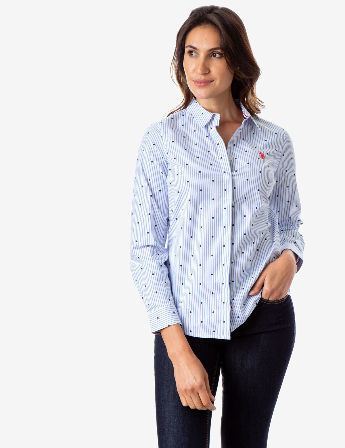 ALL OVER STRIPED DOT LONG SLEEVE SHIRT - U.S. Polo Assn.