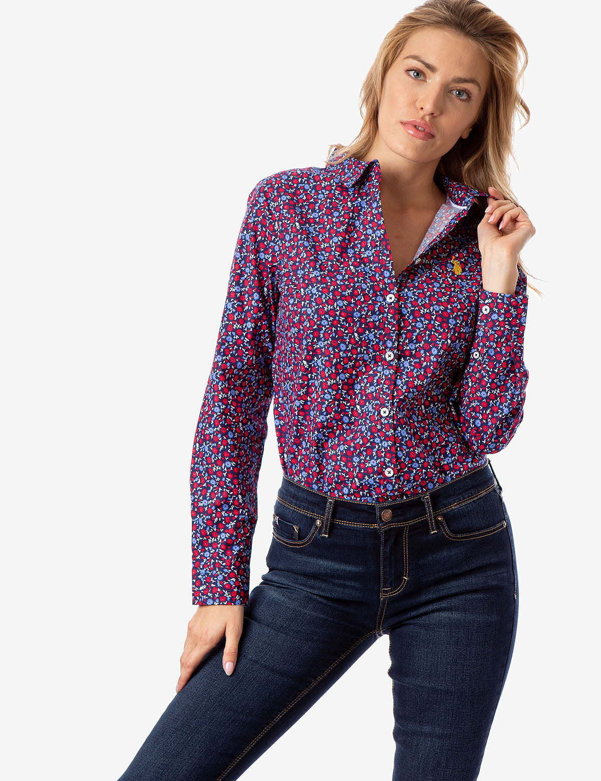 ALL OVER FLORAL PRINT POPLIN SHIRT - U.S. Polo Assn.