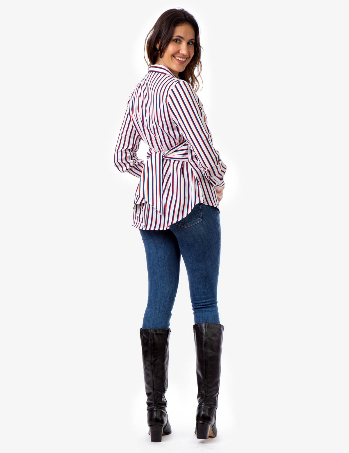 LONG SLEEVE TIE WAIST STRIPED SHIRT - U.S. Polo Assn.