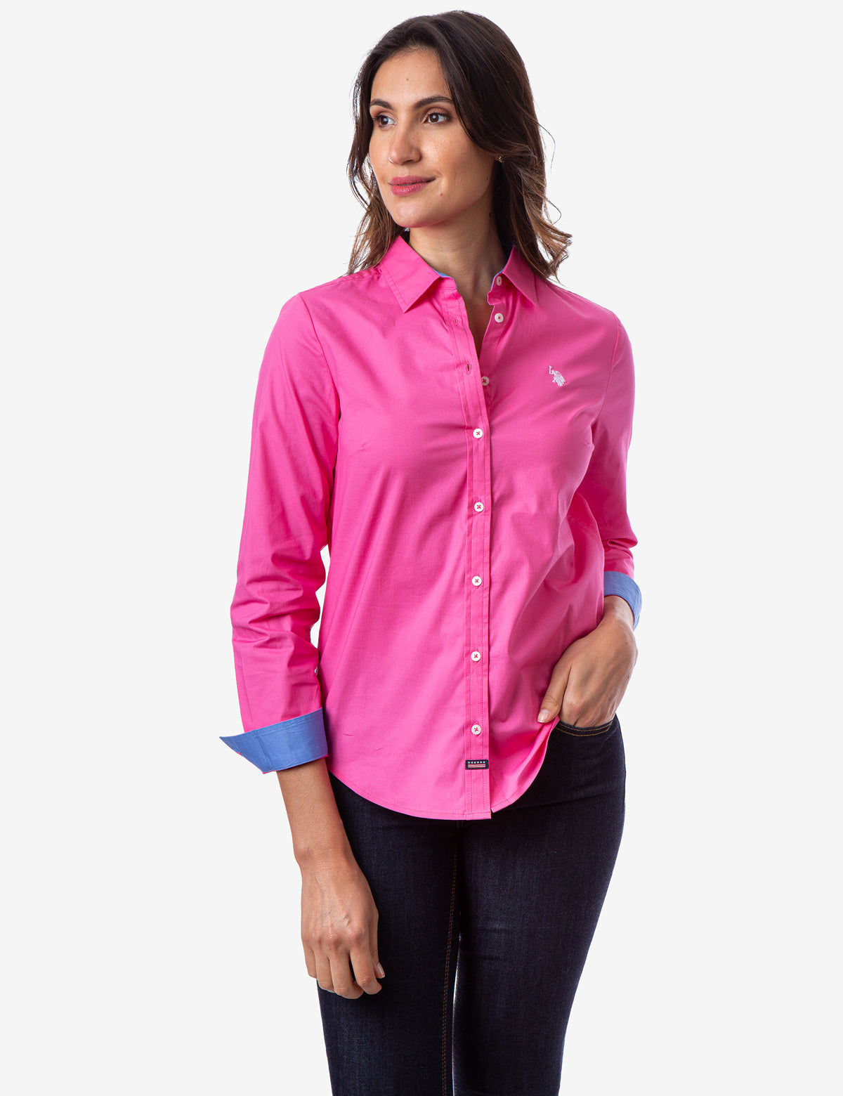 SOLID STRETCH POPLIN SHIRT - U.S. Polo Assn.