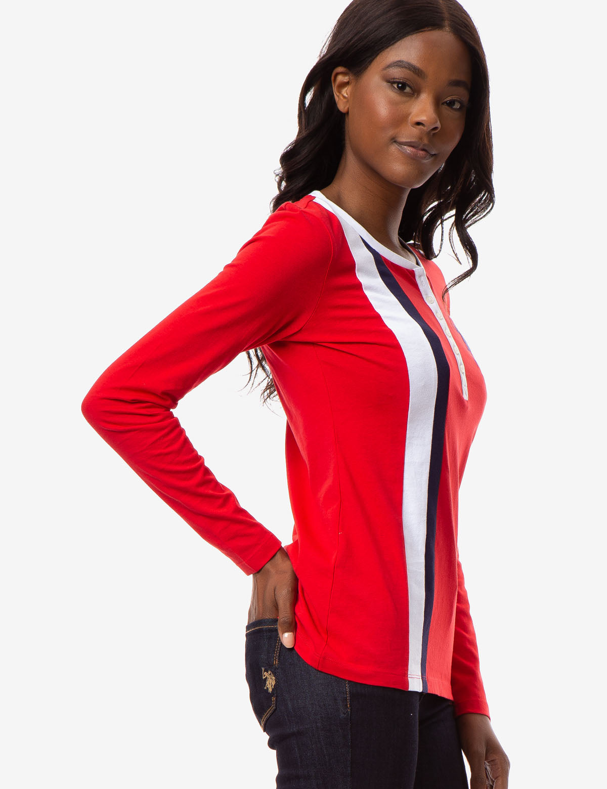 LONG SLEEVE SCOOP NECK FLAG HENLEY - U.S. Polo Assn.