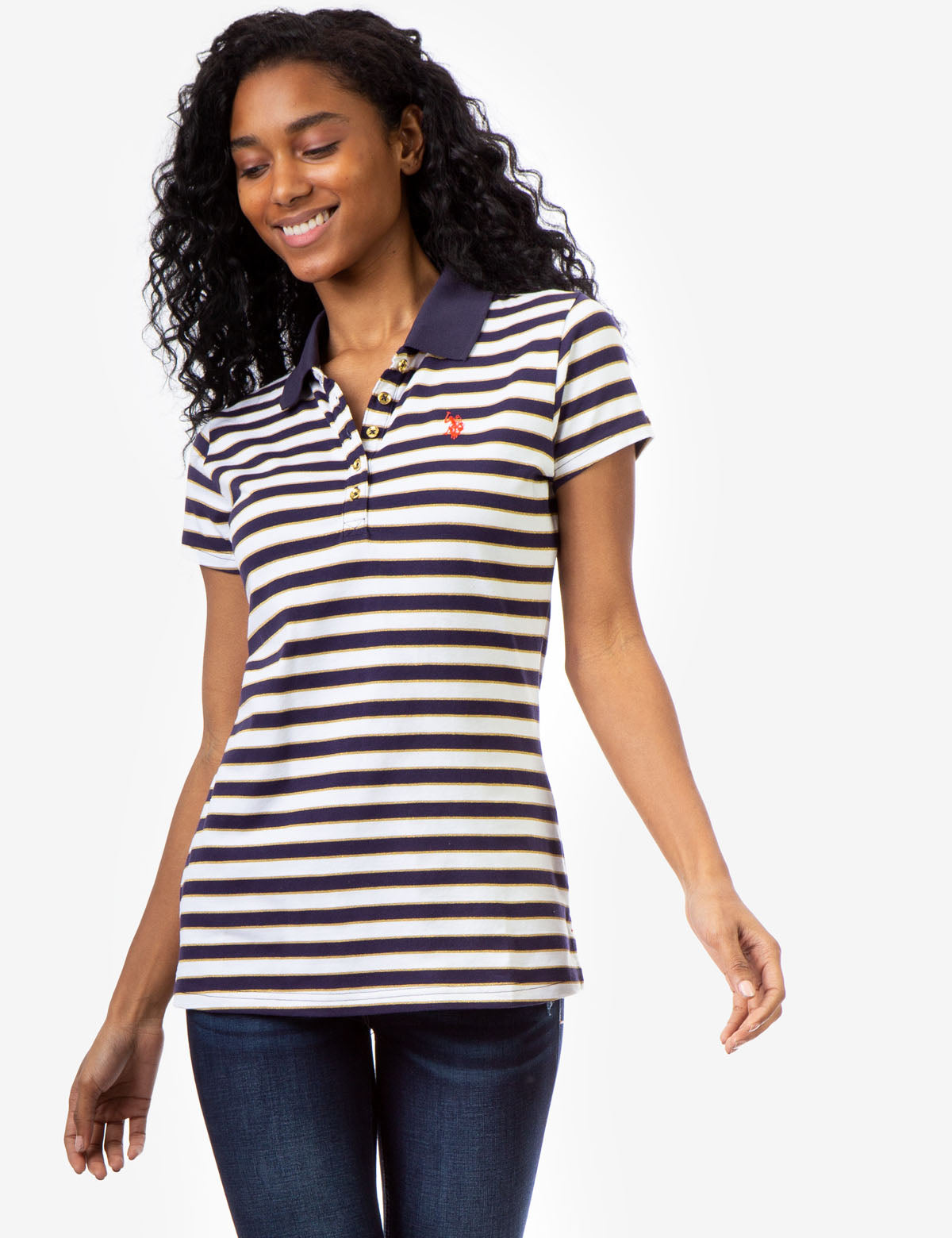 STRIPE LUREX POLO SHIRT - U.S. Polo Assn.