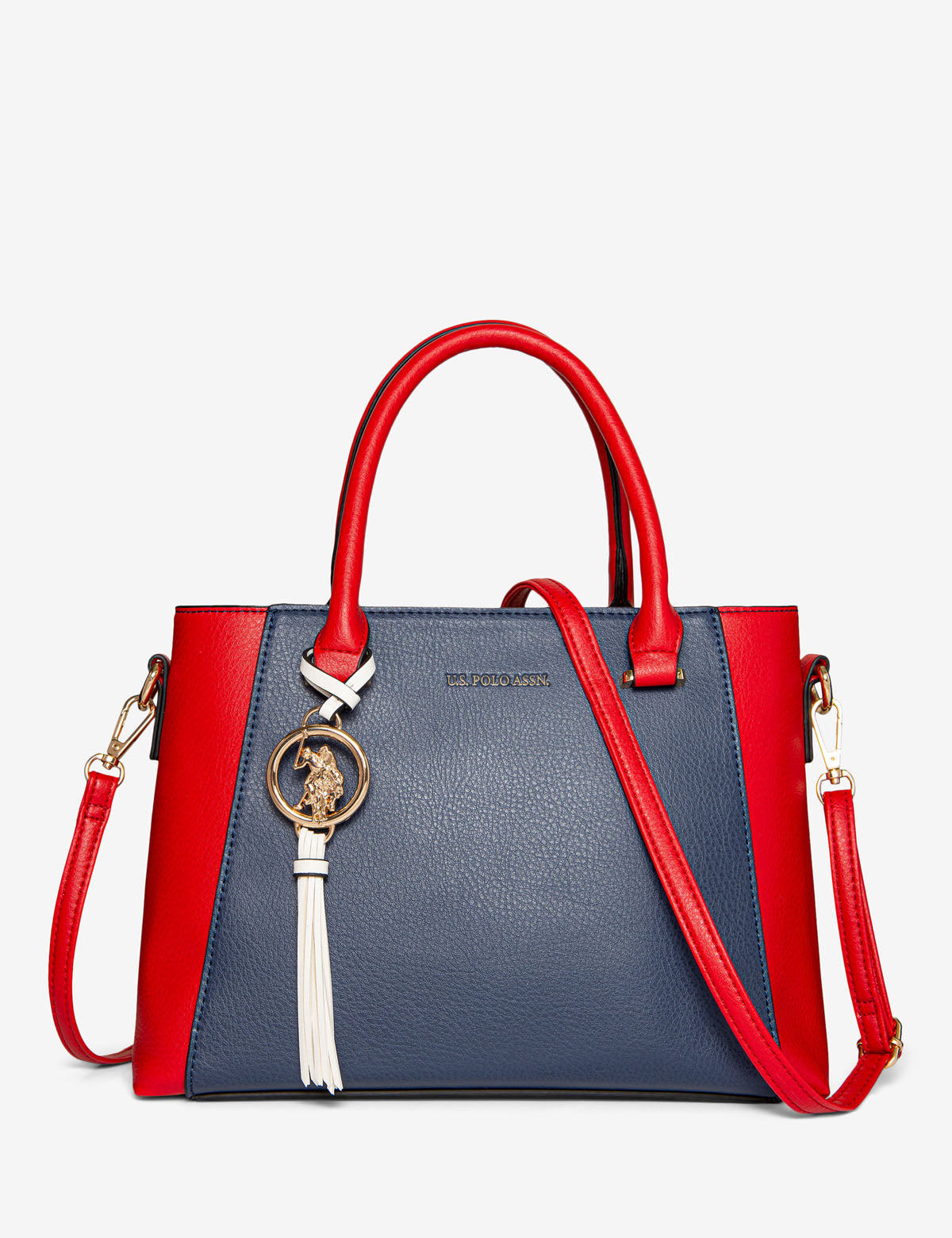 COLORBLOCK SATCHEL WITH LOGO MEDALLION