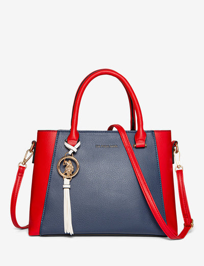 COLORBLOCK SATCHEL WITH LOGO MEDALLION - U.S. Polo Assn.
