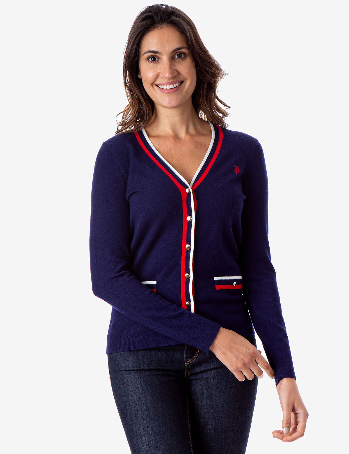 STRIPED RIB KNIT CARDIGAN - U.S. Polo Assn.