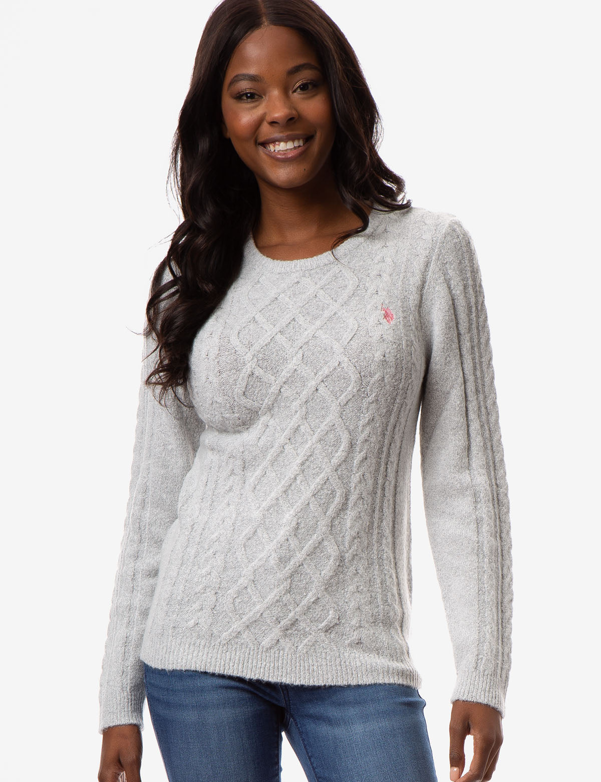 MIXED CABLE CREW NECK SWEATER