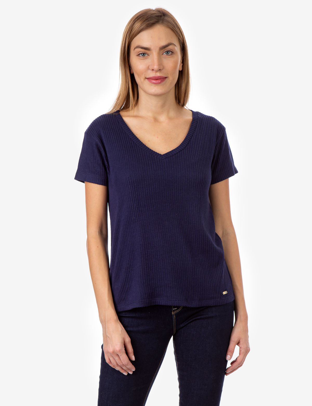 PLUSH RIB V-NECK TOP - U.S. Polo Assn.