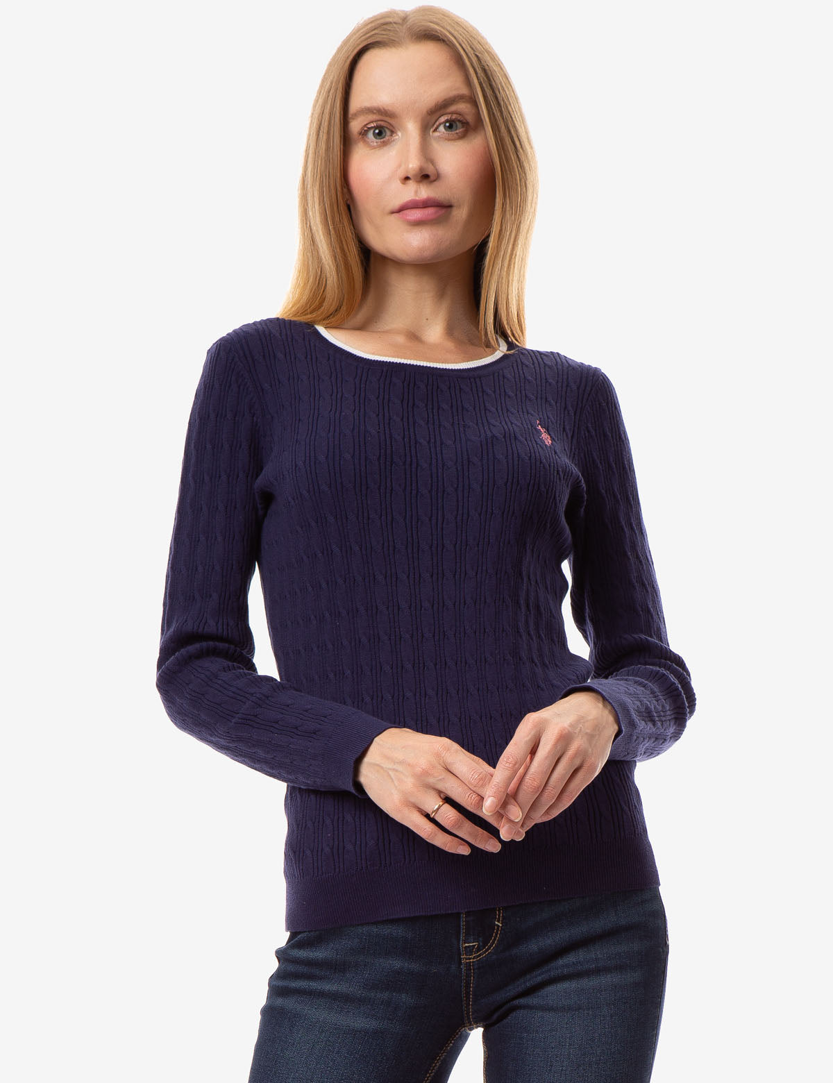 CABLE KNIT CREW NECK SWEATER - U.S. Polo Assn.