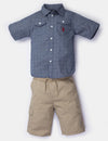 BOYS 2 PIECE SET - WOVEN SHIRT & SHORTS