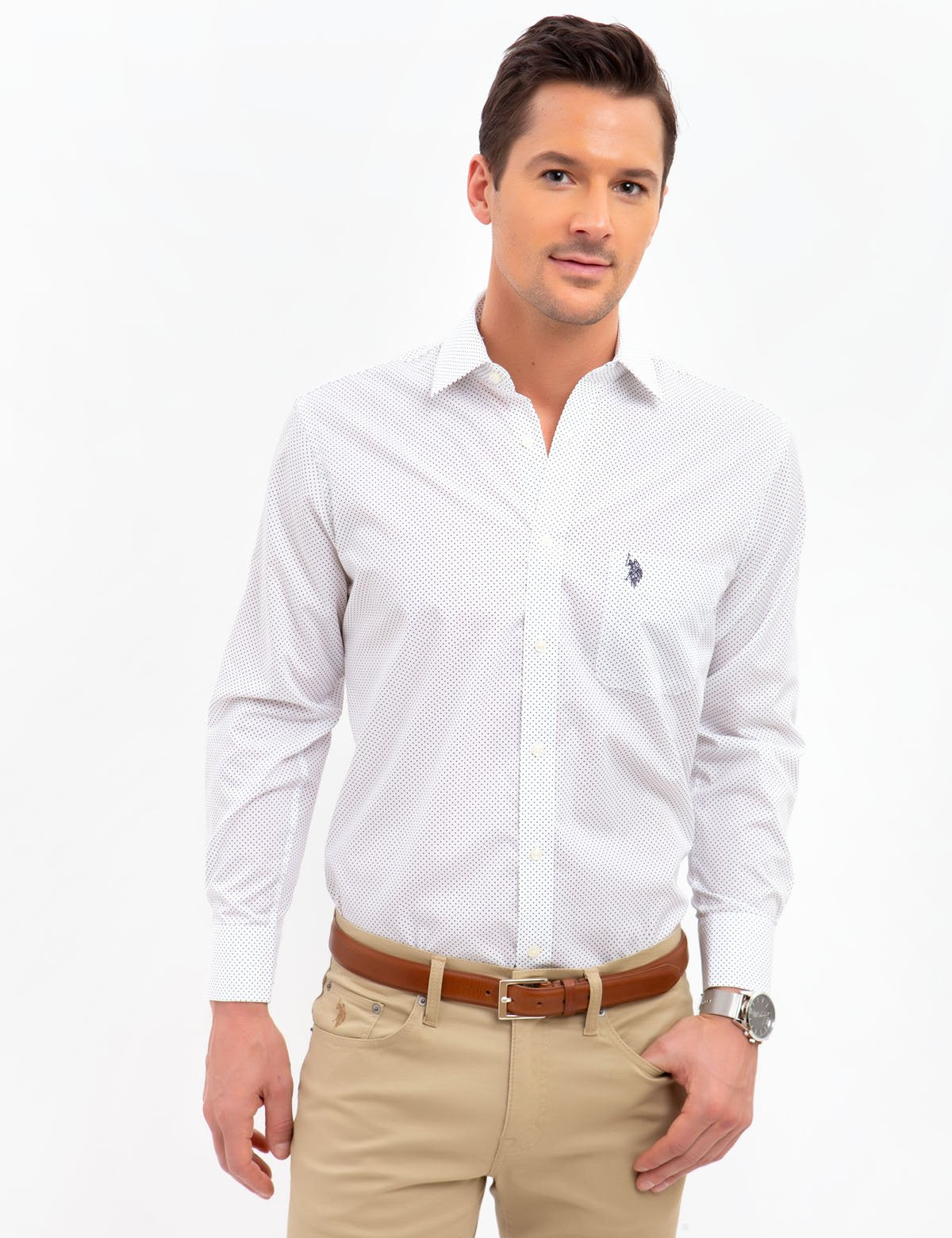 SPREAD COLLAR DOT DRESS SHIRT
