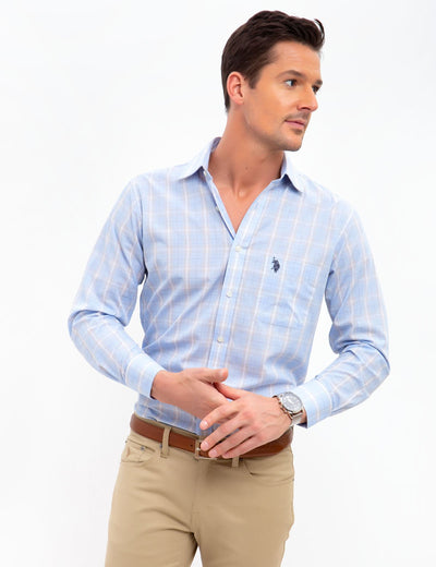 SPREAD COLLAR PLAID DRESS SHIRT - U.S. Polo Assn.