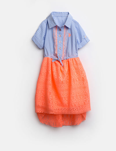 GIRLS DRESS WITH STRIPES AND LACE - U.S. Polo Assn.