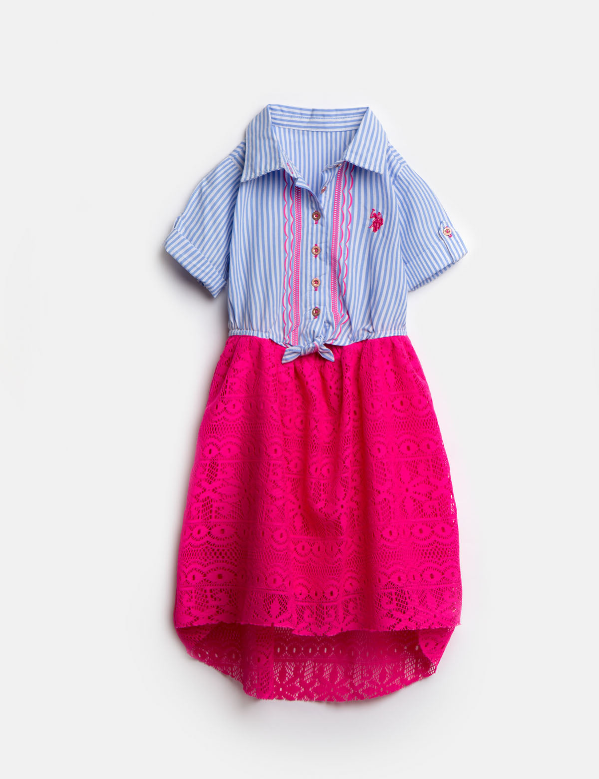 GIRLS DRESS WITH STRIPES AND LACE