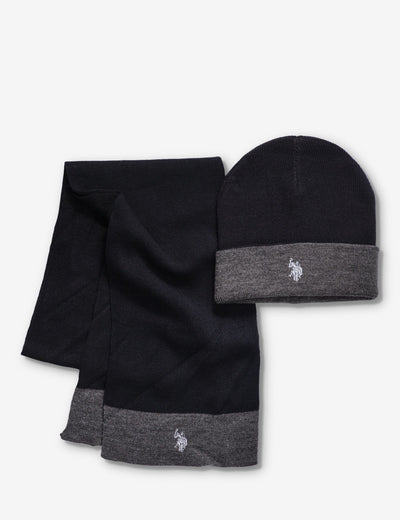 CUFF KNIT REVERSIBLE BEANIE AND SCARF SET - U.S. Polo Assn.