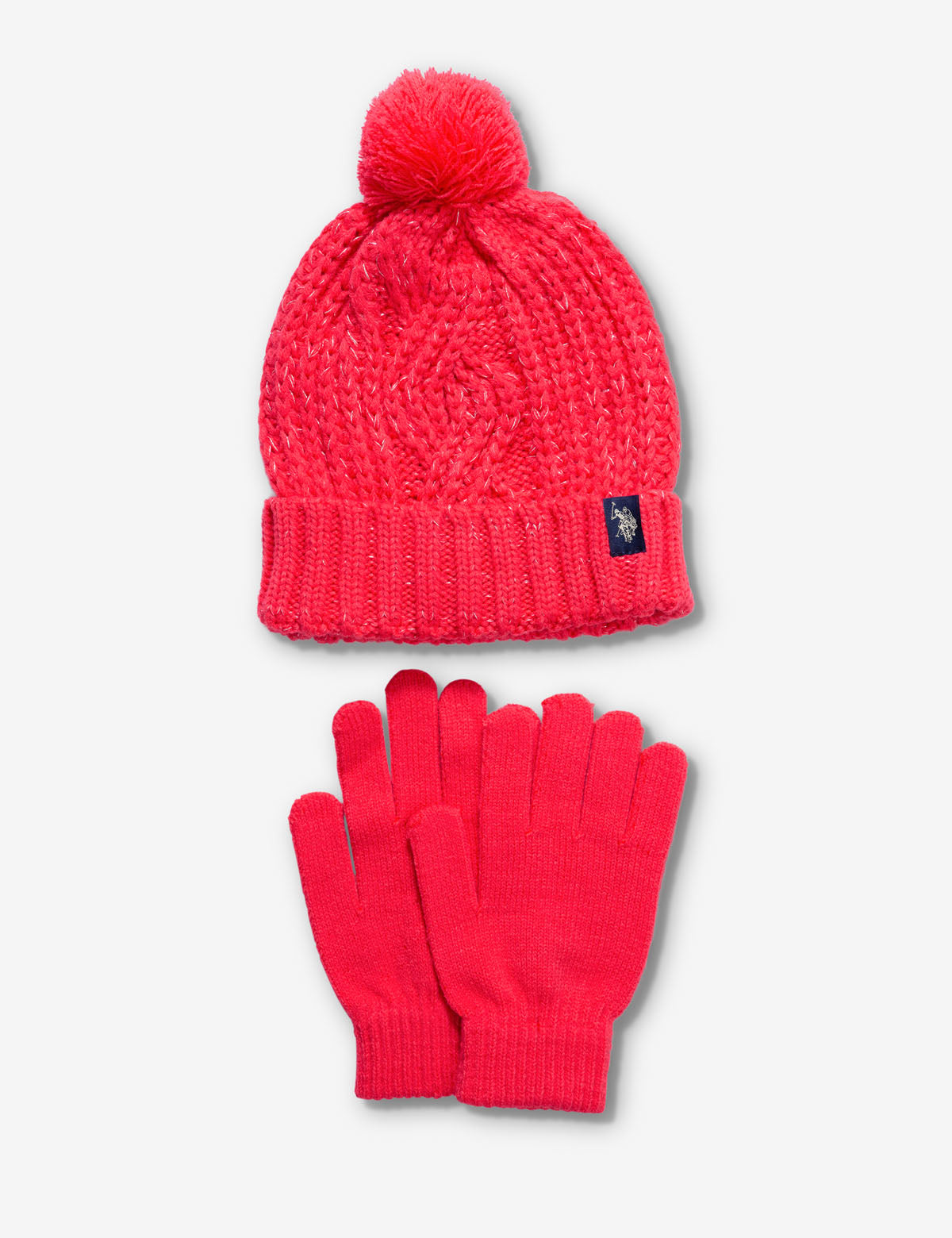 CABLE KNIT BEANIE AND GLOVE SET
