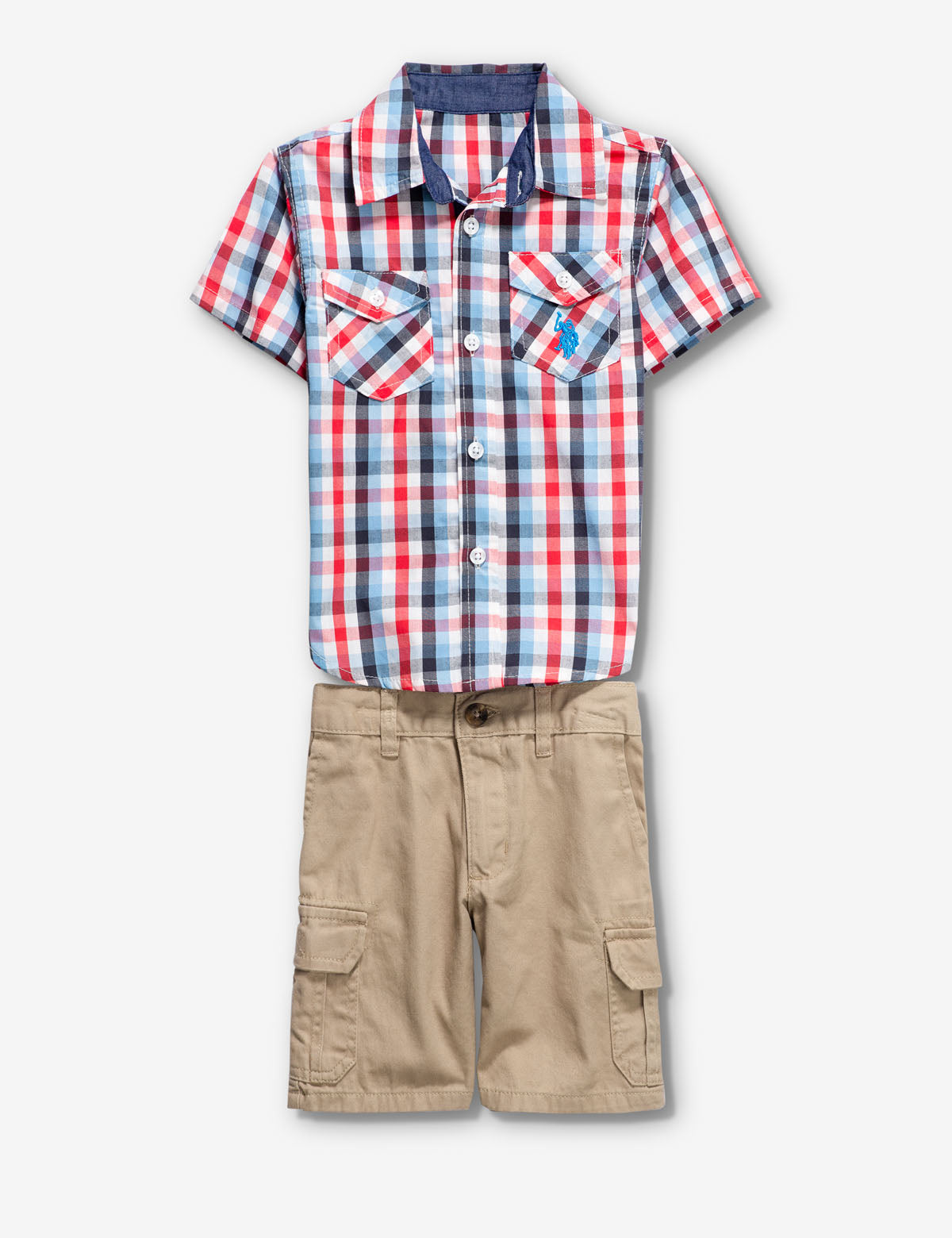 TODDLER BOYS 2 PIECE SET: PLAID SHIRT & SHORTS