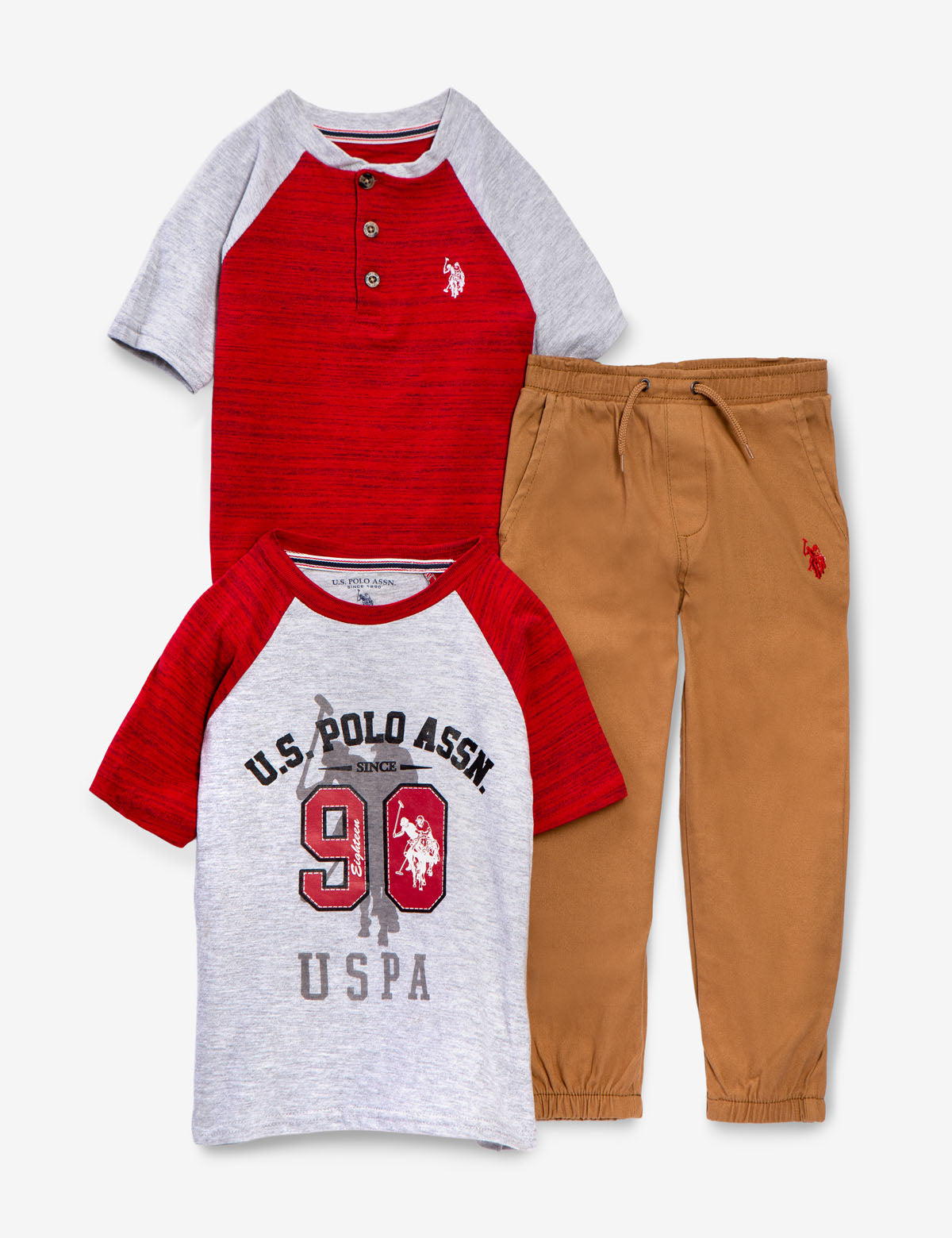 Polo Assn Boys Toddler Sport Shirt Sweater and Pant Set U.S