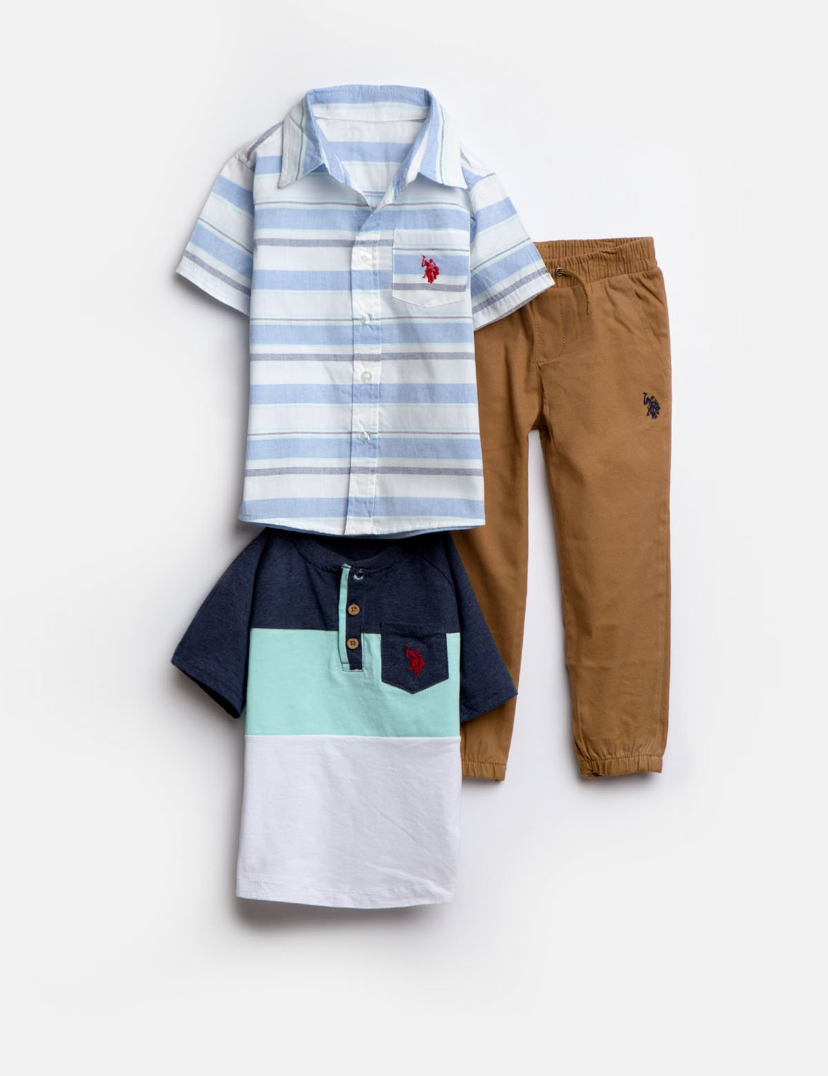 TODDLER BOYS 3 PIECE SET: SHIRT, TEE & JOGGERS