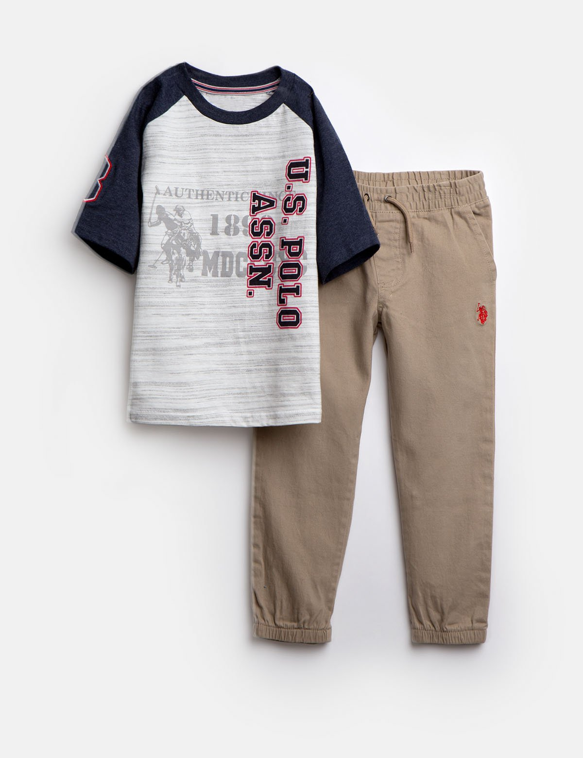 Size 5//6 Boys 3-Piece Fashion Knit Top and Pant Set U.S Charcoal Twill Polo Assn