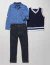 BOYS 3 PIECE SET: VEST, SHIRT & JEANS - U.S. Polo Assn.