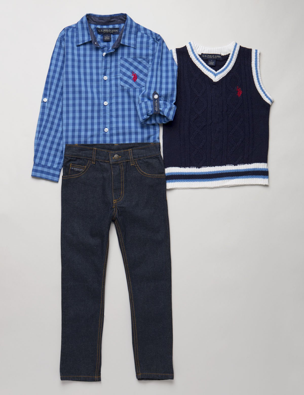 BOYS 3 PIECE SET: VEST, SHIRT & JEANS