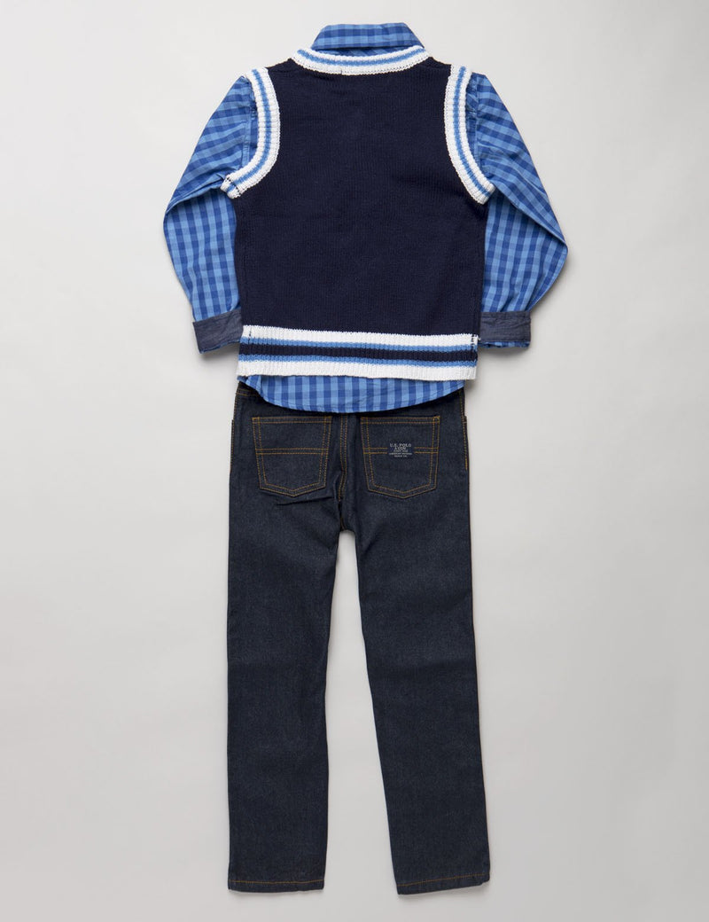 Boys 3 Piece Long Sleeve Plaid Shirt Sweater Vest