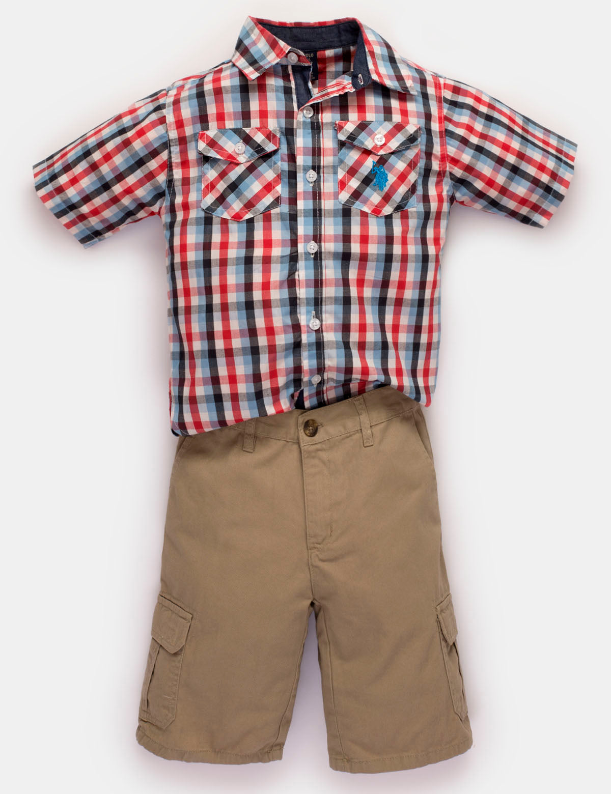 US Polo Assn Boys Woven Shirt 3pc Denim Pant Set Size 6 7 $54