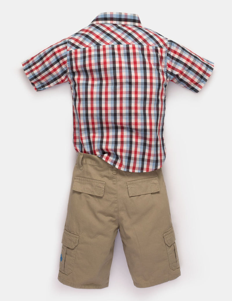BOYS 2 PIECE SET - SHIRT & CARGO SHORTS