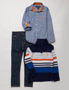 Boys 3 Piece Long Sleeve Plaid Shirt Sweater & Den