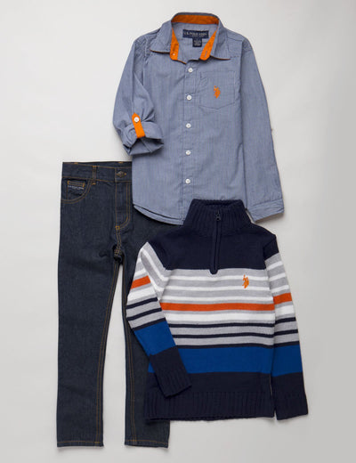 Boys 3 Piece Long Sleeve Plaid Shirt Sweater & Den - U.S. Polo Assn.