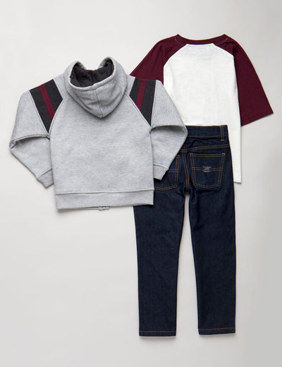 BOYS 3 PIECE SET - TEE, FLEECE & JEANS