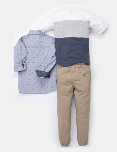 BOYS 3 PIECE SET: SHIRT, TEE-SHIRT & JOGGERS