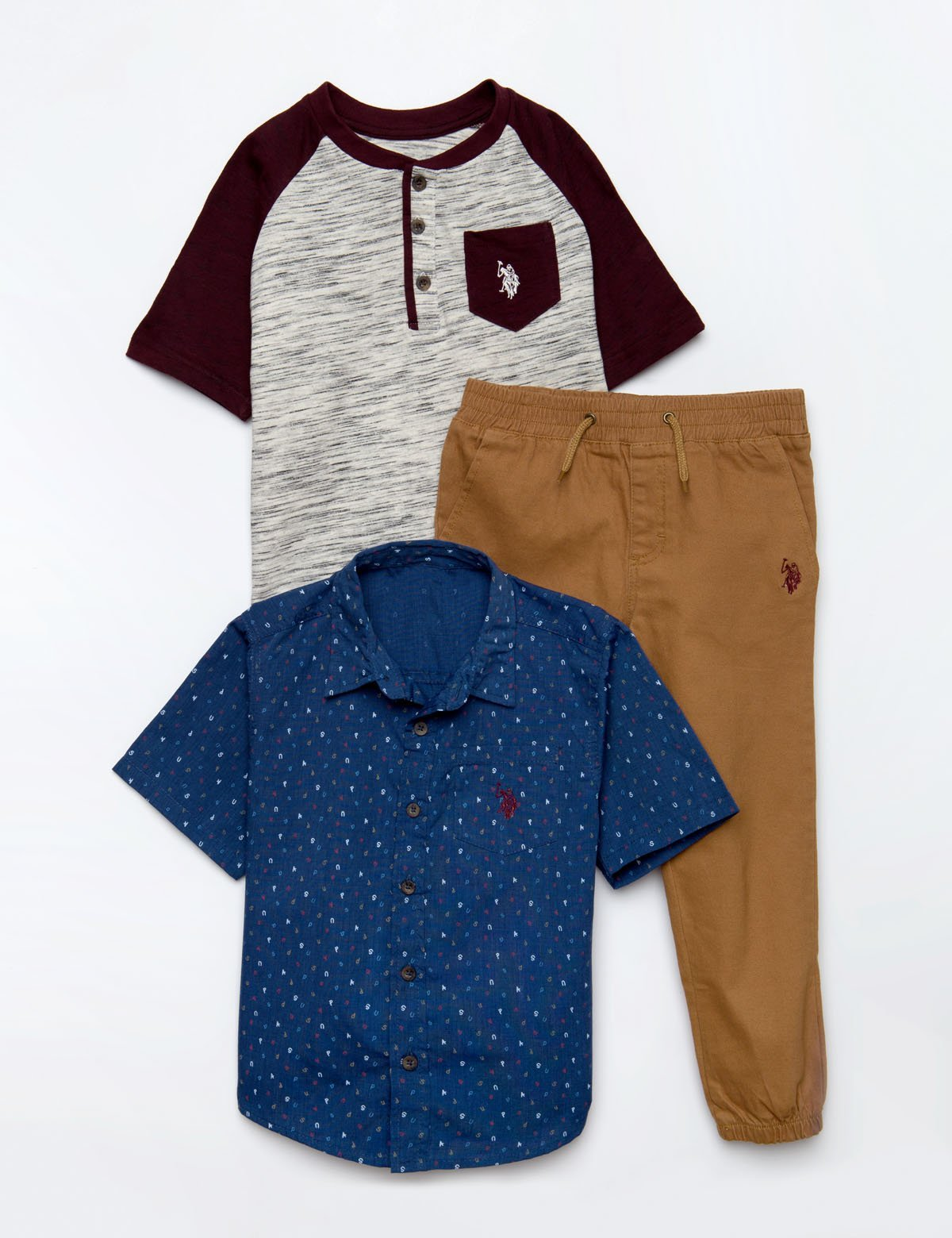 BOYS 3 PIECE SET - SHIRT, TEE & JOGGERS