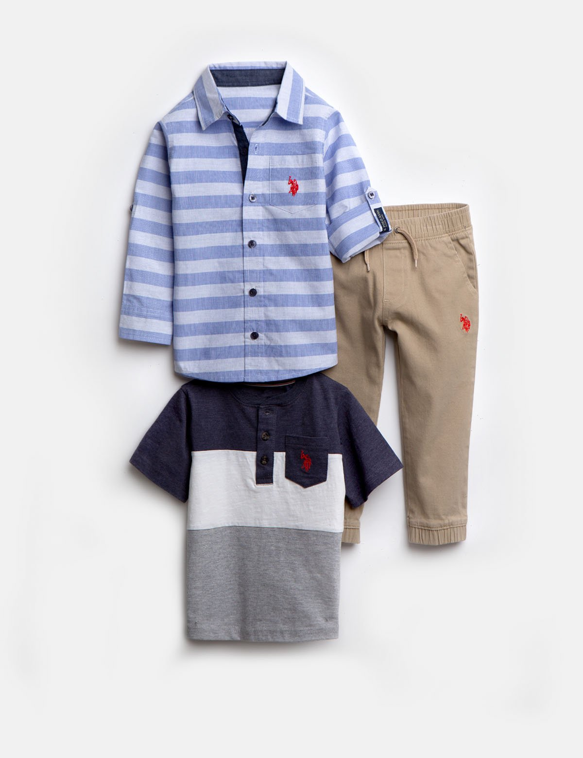 BOYS 3 PIECE SET: SHIRT, TEE & JOGGERS