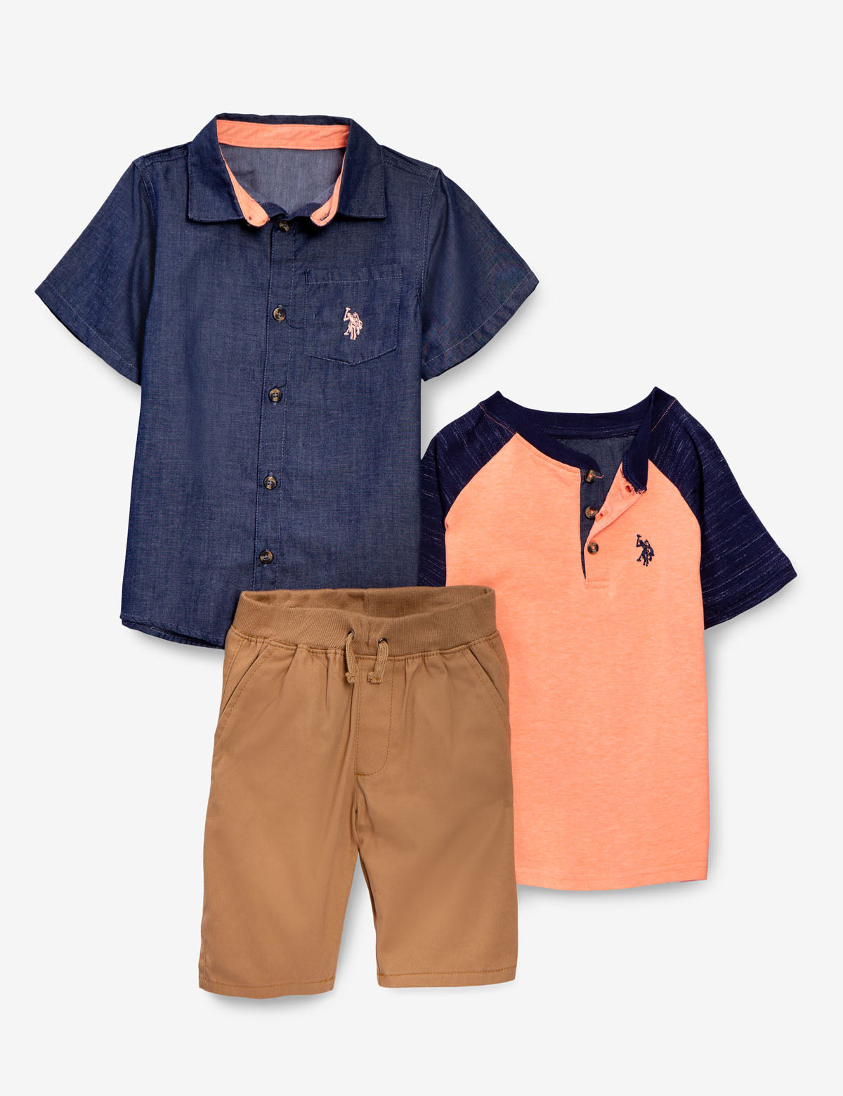 BOYS 3 PIECE SET - SHIRT, TEE & SHORTS