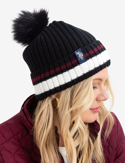 STRIPED CUFF BEANIE WITH FAUX FUR POM POM - U.S. Polo Assn.