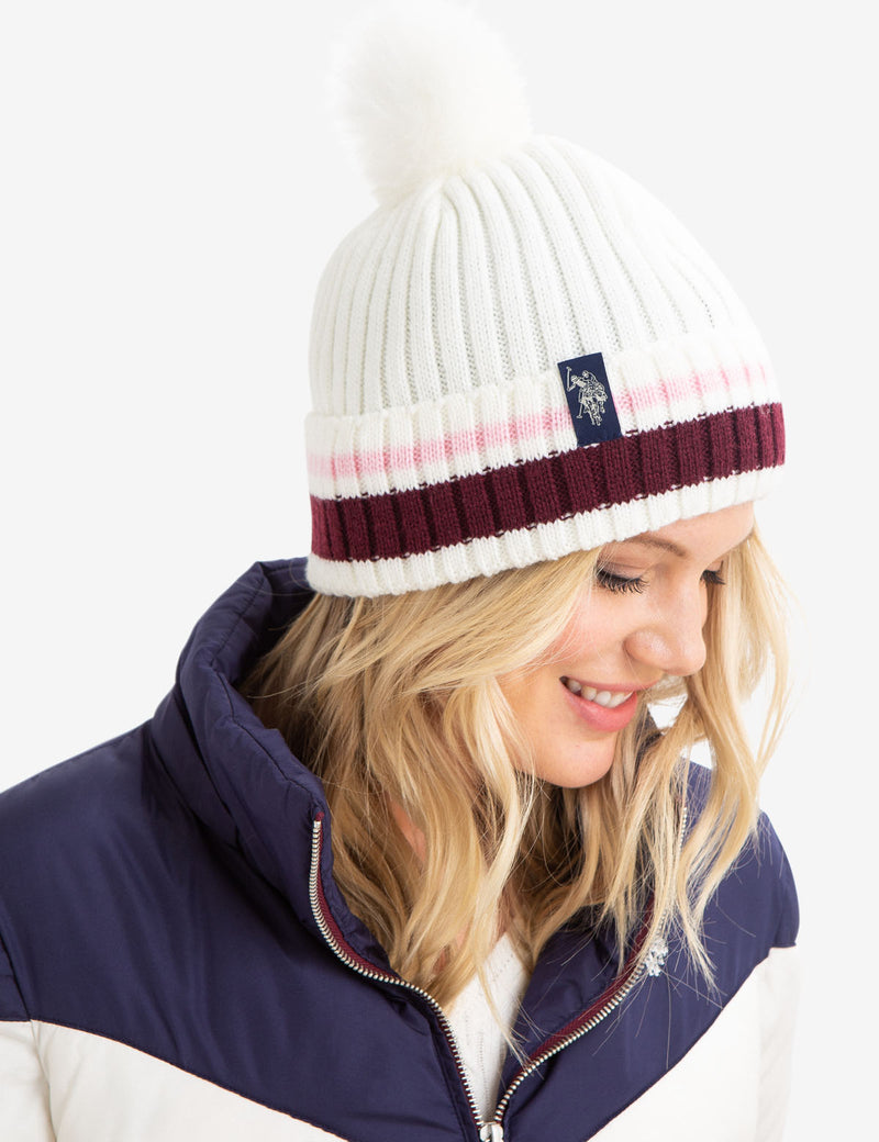 STRIPED CUFF BEANIE WITH FAUX FUR POM POM